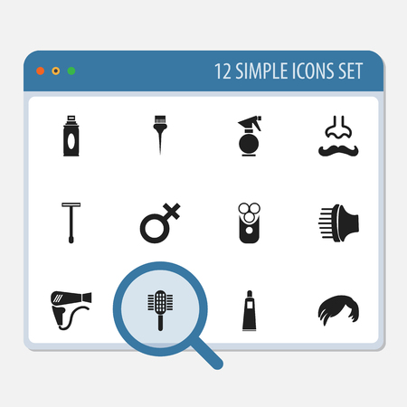 Set of tonsorial artist icons.