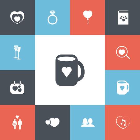 Ensemble de 13 icônes d'amour modifiables. Comprend des symboles tels que des ballons, des signes, des battements de c?ur, etc.