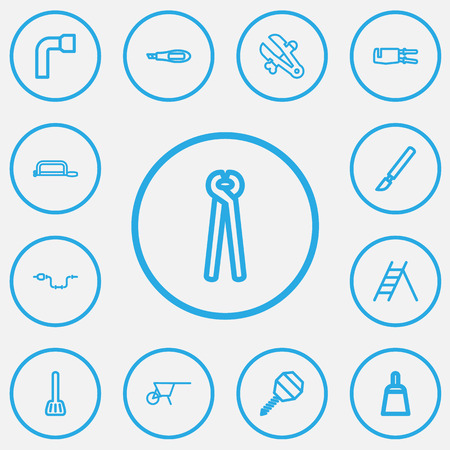 Set Of 13 Editable Equipment Outline Icons. Includes Symbols Such As Handsaw, Wheel Wrench, Scraper