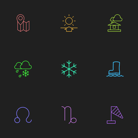 Set Of 9 Editable Climate Outline Icons. Includes Symbols Such As Freeze, Domicile, Snow Star And More Ilustração