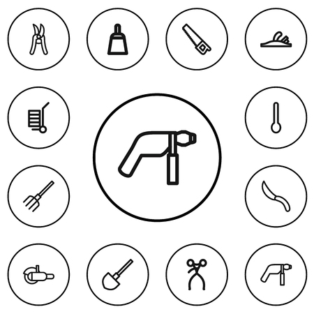 Set Of 12 Editable Equipment Outline Icons. Includes Symbols Such As Plane, Retractor, Saw And More Illustration