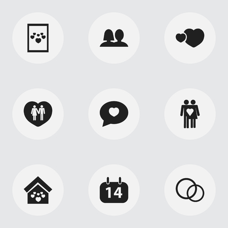 domicile: Set Of 9 Editable Amour Icons. Includes Symbols Such As Lovers, Image, Domicile And More Illustration