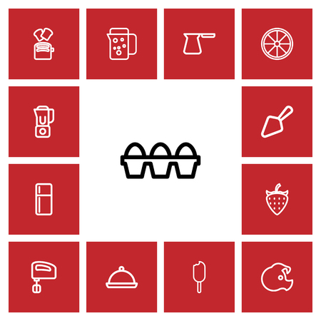 frowzy: Set Of 13 Editable Food Outline Icons. Includes Symbols Such As Blender, Thermo, Fruit And More.