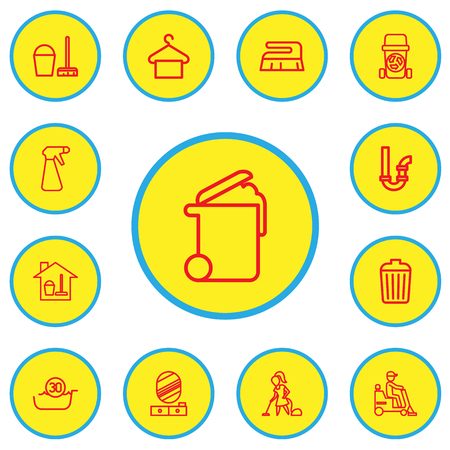 Set Of 13 Editable Cleaning Outline Icons. Includes Symbols Such As Garbage Bin, Spray, Suspender And More. Illustration