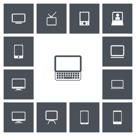 Set Of 13 Editable Instrument Icons. Includes Symbols Such As Telephone, Monitor, Television And More. Can Be Used For Web, Mobile, UI And Infographic Design. Illustration