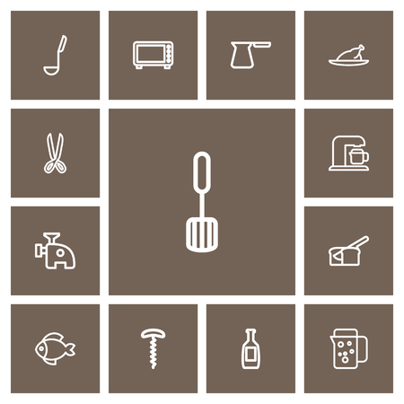 Set Of 13 Editable Cook Outline Icons. Includes Symbols Such As Wine Opener, Microwave, Cezve And More