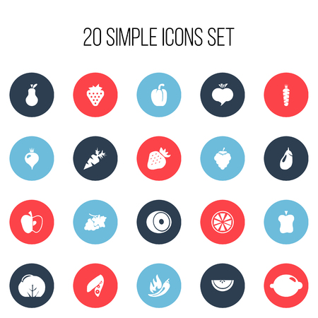 Set of 20 editable fruits icons. Includes symbols such as lime, eggplant, turnip and more