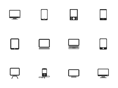 Set Of 12 Editable Instrument Icons. Includes Symbols Such As Clavier, Mp3 Player, Screen And More