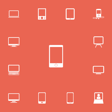 Set Of 13 Editable Devices Icons. Includes Symbols Such As Touchscreen, Monitor, Smartphone And More