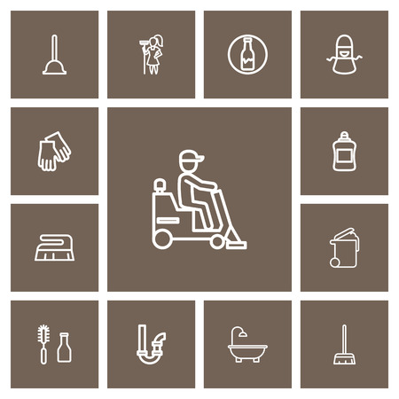 Set Of 13 Editable Hygiene Outline Icons. Includes Symbols Such As Waste, Bathtub, Siphon And More