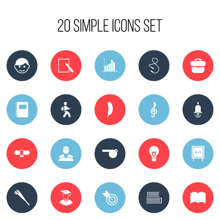 Set Of 20 Editable Education Icons. Includes Symbols Such As Briefcase, Feather, Studying Boy And More Illustration
