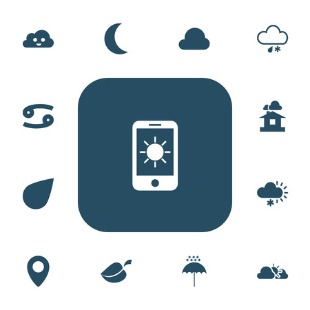 domicile: Set Of 13 Editable Air Icons. Includes Symbols Such As Domicile, Winter Parasol, Hailstorm And More Illustration