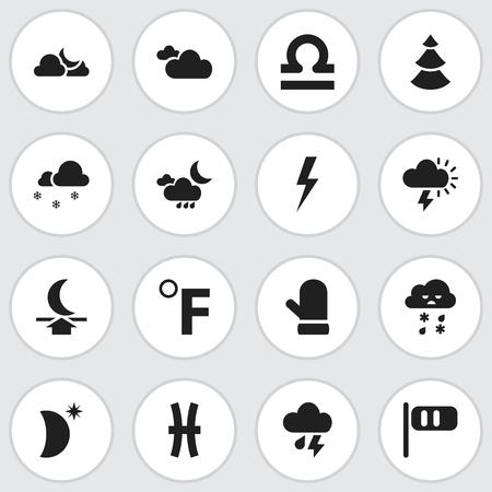 16 편집 가능한 공기 아이콘 집합입니다. 장갑, 번개, 상록수 등의 기호가 포함되어 있습니다.