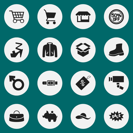 collect: Set Of 16 Editable Trade Icons. Includes Symbols Such As Reticule, Hatband, Guard Camera