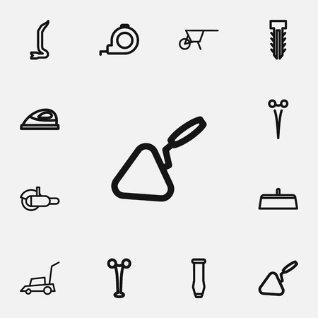Set Of 12 Editable Instrument Outline Icons. Includes Symbols Such As Handcart, Jimmy, Appliance Illustration