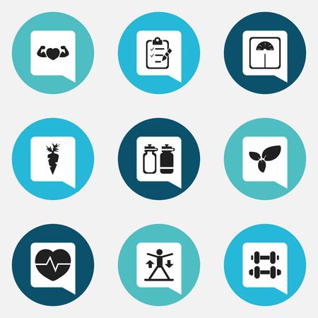 9 編集可能なスポーツのアイコンのセットです。体重測定、トレーニング、根菜などの記号が含まれています。Web、モバイル、UI、インフォ グラフィ  イラスト・ベクター素材