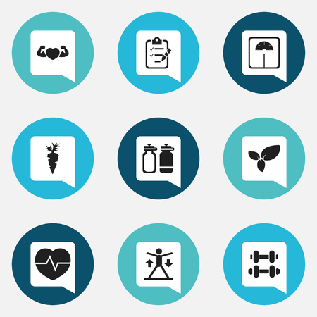 9 편집 가능한 스포츠 아이콘의 집합입니다. 무게 측정, 훈련, 뿌리 채소 등과 같은 기호가 포함됩니다. 웹, 모바일, UI 및 인포 그래픽 디자인에 사용할  일러스트