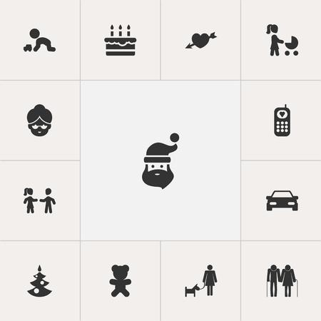 Conjunto de 13 iconos editables de la gente. Incluye símbolos como Jugar con vehículo, Amigos, Teléfono y más. Se puede usar para diseño web, móvil, de interfaz de usuario y de infografía. Foto de archivo - 86544400