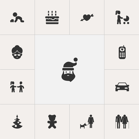 Set Of 13 Editable Folks Icons. Includes Symbols Such As Play With Vehicle, Friends, Telephone And More. Can Be Used For Web, Mobile, UI And Infographic Design. Ilustração