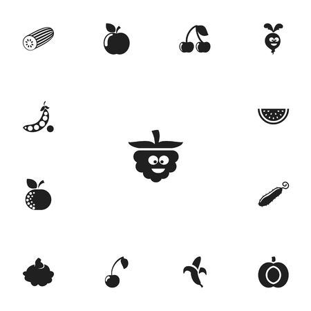 Set Of 13 Editable Cooking Icons. Includes Symbols Such As Morello, Banana, Comic Blackberry And More