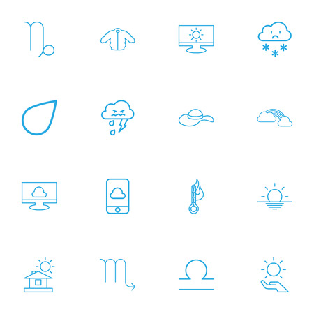 hazy: Set Of 16 Editable Climate Outline Icons. Includes Symbols Such As Raindrop, Coat, Goat And More