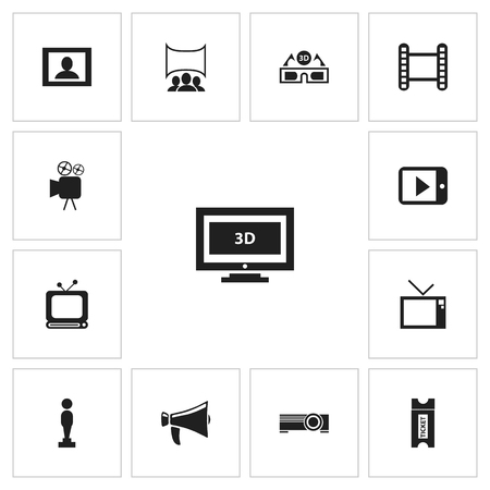 Set Of 13 Editable Filming Icons. Includes Symbols Such As Tv, Movie Strip, Oscar And More.