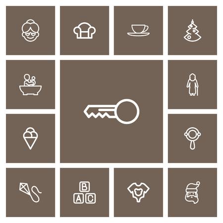 Set Of 13 Editable Folks Outline Icons. Includes Symbols Such As Christmas, Blocks, Clues And More Ilustração