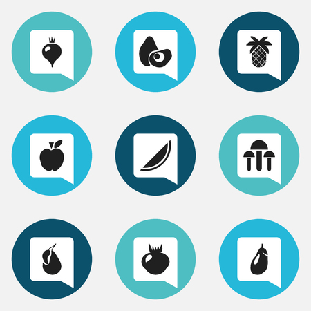 Set Of 9 Editable Dessert Icons. Includes Symbols Such As Tropical Fruit, Papaya, Turnip And More
