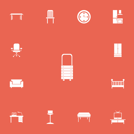 settee: Set Of 13 Editable Interior Icons. Includes Symbols Such As Interior, Watch, Child Cot And More