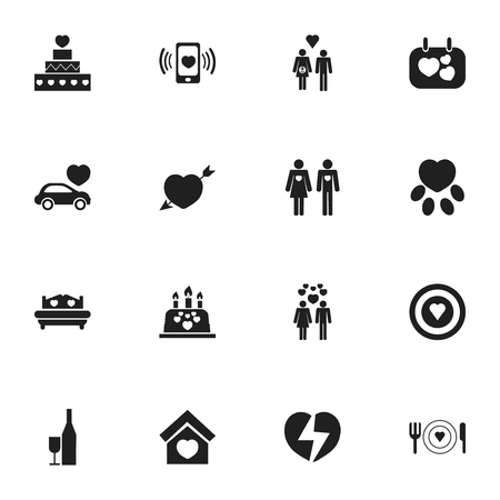 pareja comiendo: Set Of 16 Editable Amour Icons. Includes Symbols Such As Signboard, Cake, Passion And More Vectores