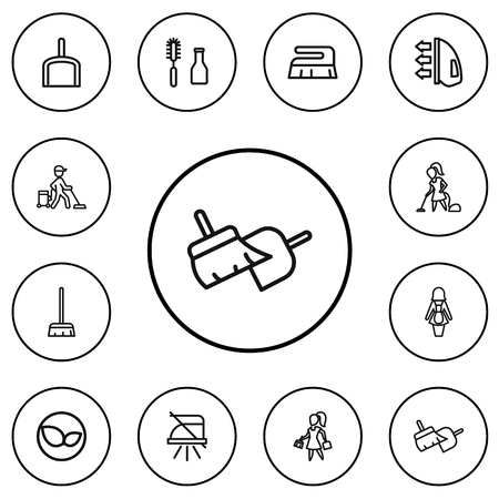 Set Of 12 Editable Cleaning Outline Icons. Includes Symbols Such As Ironing, Besom, Woman And More