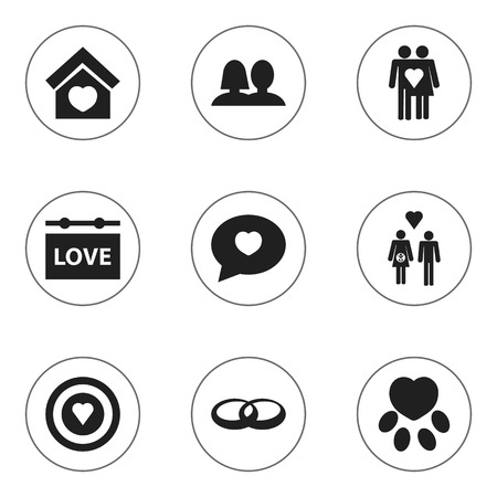 Set Of 9 Editable Heart Icons. Includes Symbols Such As Proclamation, Wedding, Banner And More.