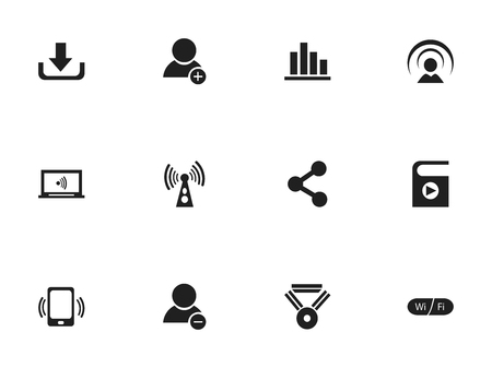 Set Of 12 Editable Internet Icons. Includes Symbols Such As Wifi, Download, Wireless Transmission And More.
