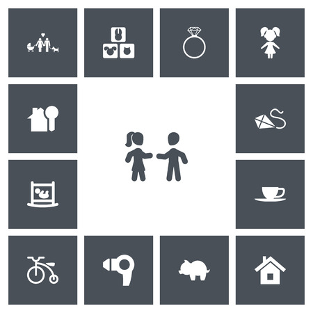 Set Of 13 Editable Folks Icons. Includes Symbols Such As Infant Bed, Tea, Home And More.