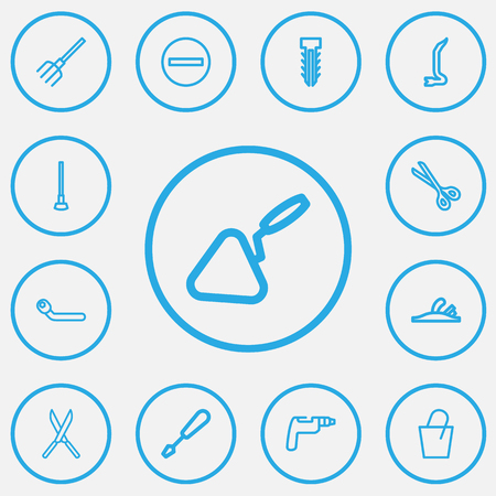 Set Of 13 Editable Tools Outline Icons. Includes Symbols Such As Fastener, Pail, Circle Spanner And More. Can Be Used For Web, Mobile, UI And Infographic Design.