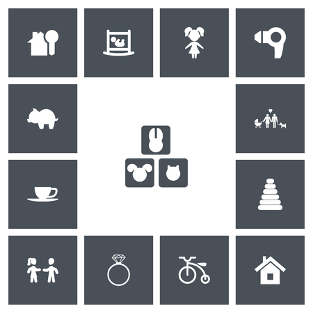 Set Of 13 Editable Folks Icons. Includes Symbols Such As Money box, Home, Hairdryer And More.