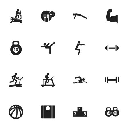 Set Of 16 Editable Fitness Icons. Includes Symbols Such As Strength, Jogging, Heft And More.