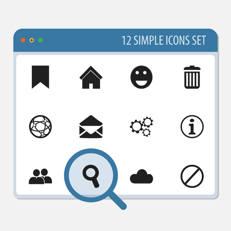 Set Of 12 Editable Web Icons. Includes Symbols Such As Letter, Tag, Emoji And More.