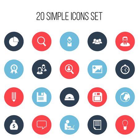 Set Of 20 Editable Office Icons. Includes Symbols Such As Job Woman, Compact Disk, Floppy And More. Illustration
