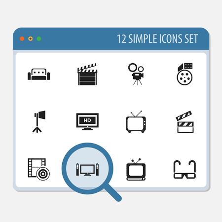 Zestaw 12 Edytowalnych Ikony Filmów. Ilustracje wektorowe