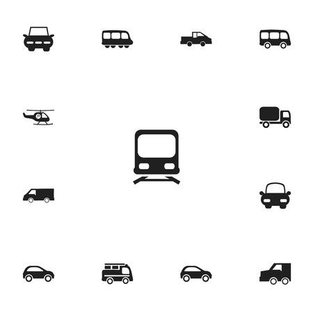 Set Of 13 Editable Transportation Icons.