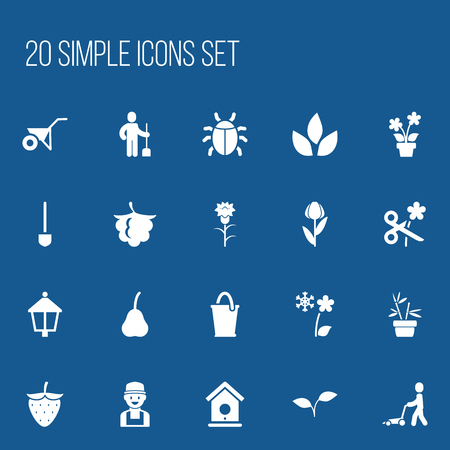 ladybug: Set Of 20 Editable Planting Icons.