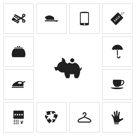 collect: Set Of 13 Editable Trade Icons. Illustration