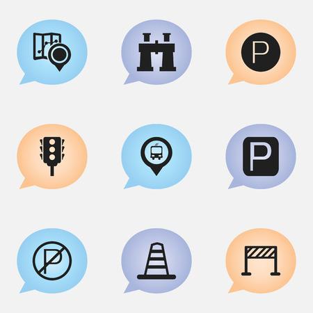 Set van 9 bewerkbare richting iconen.