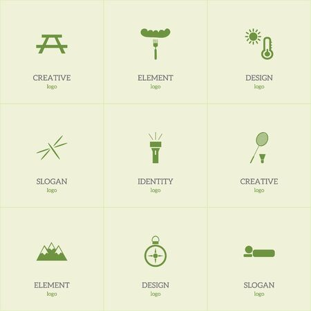 Set Of 9 Editable Trip Icons. Includes Symbols Such As Fork, Bedroll, Desk And More. Illustration