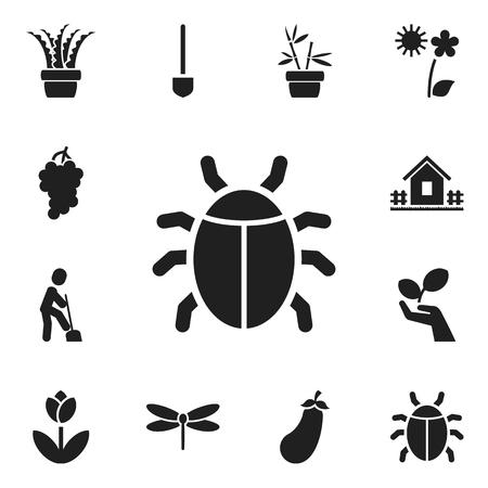 ladybug: Set Of 12 Editable Agriculture Icons.