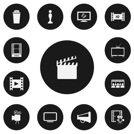 Set Of 13 Editable Movie Icons.