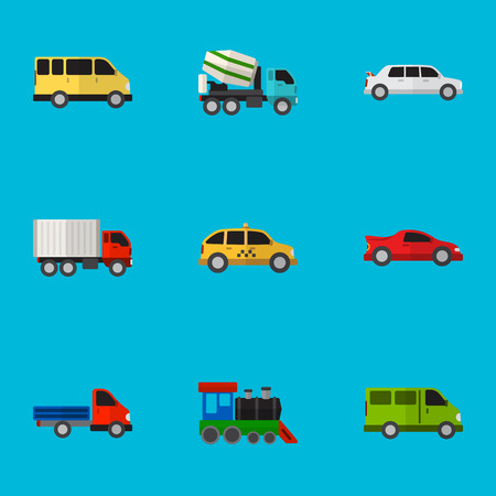 Set Of 9 Editable Automobile Flat Icons. Stock Vector - 86845161