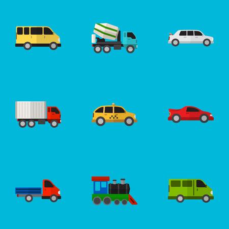 Set Of 9 Editable Automobile Flat Icons.