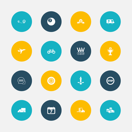 Set Of 16 Editable Complicated Icons.